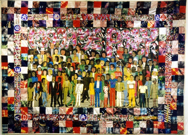 FAITH RINGGOLD Subway Graffiti #2 Acrylic on canvas with pieced, dyed, and painted fabric 60 × 84 in 152.4 × 213.4 cm ACA Galleries #art #contemporaryart #painting