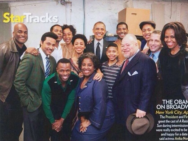 President Barack Obama and First Lady Michelle Obama with the cast of A Raisin in the Sun in People Magazine.