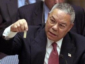 Secretary of State Powell in front of the United Nations Security explaining how Iraq had chemical weapons.