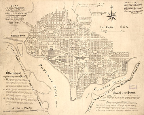 """This plan of the city of Washington, D.C., from 1791 shows Banneker's work as surveyor of our country's capital CREDIT: """"Plan of the city of Washington in the territory of Columbia : ceded by the states of Virginia and Maryland to the United States of America,"""" 1792(?). Geography and Map Division, Library of Congress. Call Number G3850 1792 .E41 Vault. br />"""