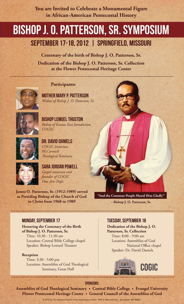 Bishop J. O. Patterson, Sr. Symposium Slated for Springfield, MO, September 17-18, 2012