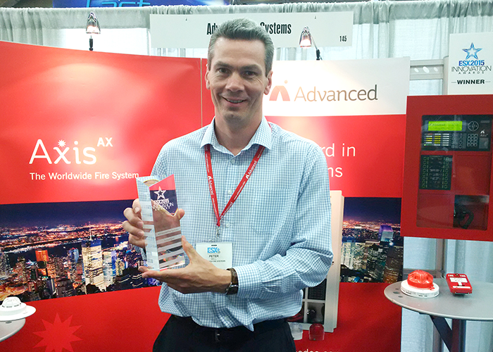 Peter Bell, Advanced's VP of Engineering, with the award.