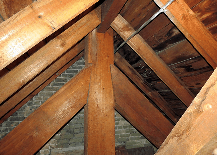 A 2014 photograph of the 1902 heavy timber roof assembly on the North end of the nontraditional heavy timber Guardian Angels Catholic Church in Chaska, Minnesota. From viewing this picture, one gets a clear sense of the scale of these massive timbers.