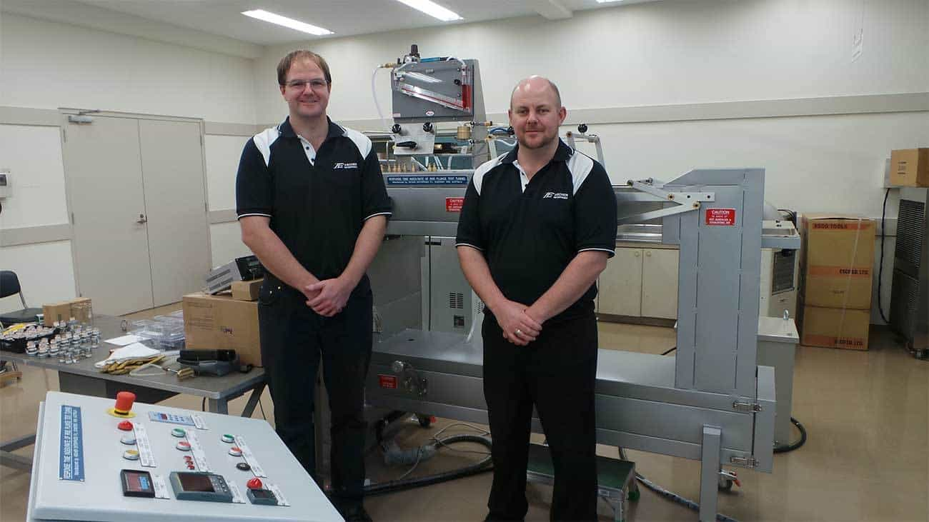 Brad Byrne and Russell Byrne installing their Plunge Test laboratory equipment in Japan.