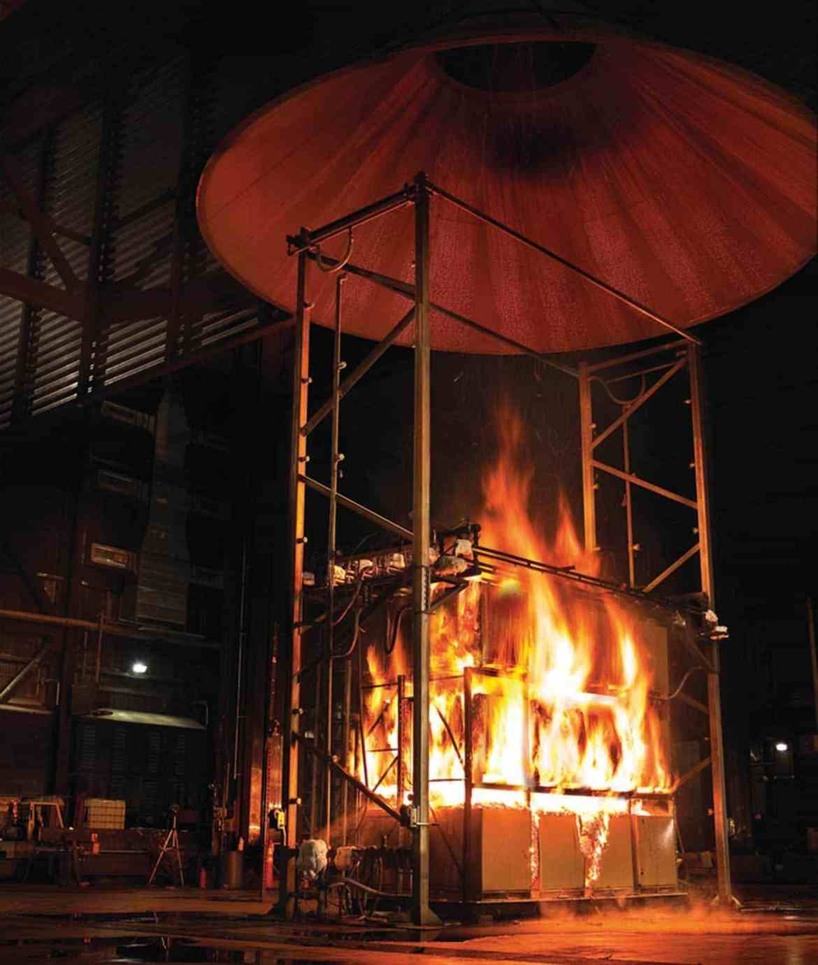 Figure 4. Commodity classifications can be evaluated through fire tests such as this one performed by FM Global that measures heat release rate from a burning array.