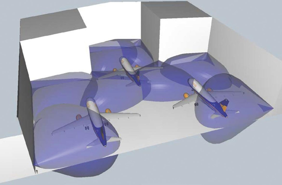 3D representation of a hangar showing aircraft and flame detector field of view.
