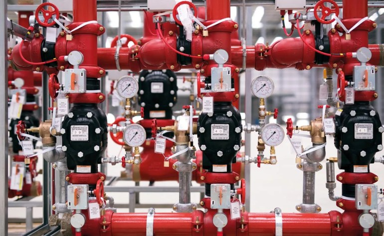 Victaulic's couplings and valves within the prefabricated alarm valve module.