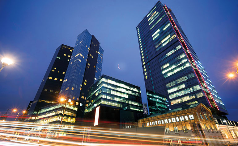 30-storey high-rise, existing and new buildings safely protected with HPWM.
