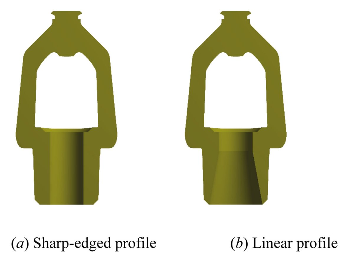 Figure 4. Sprinkler nozzles with different waterway profiles.