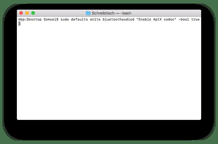 aptX wird via Terminal aktiviert.