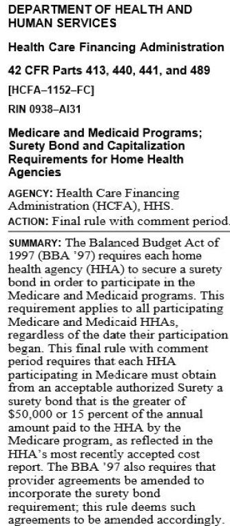 HH Surety Bond - FINAL Rule with Comment Period of Jan 5, 1998
