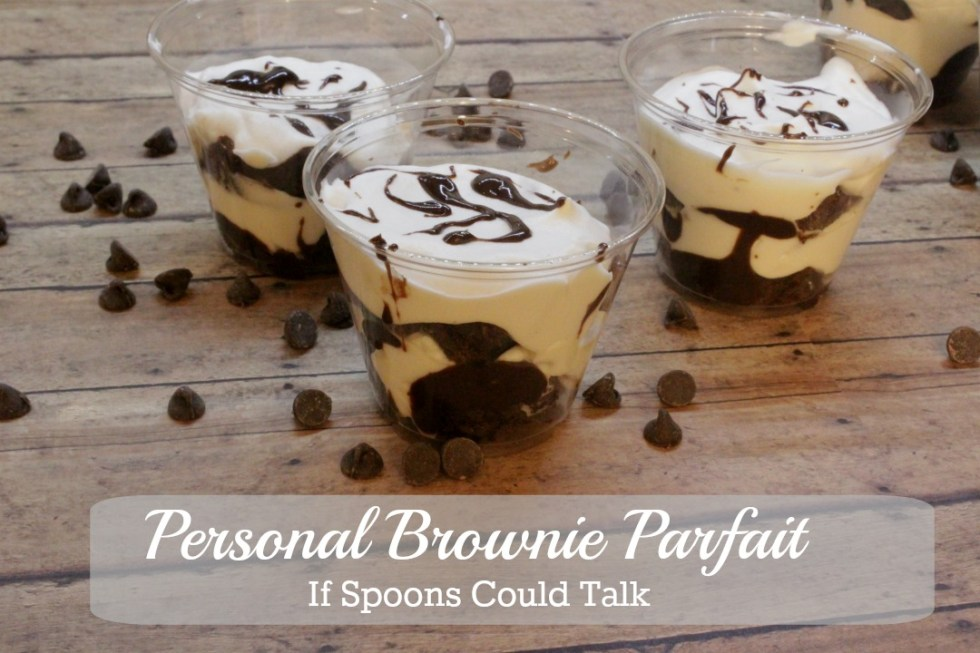 These personal brownie parfaits are the perfect combination of chewy and sweet. They are easy to make with only 3 parts. Make in the morning, chill and they are ready to go by lunch.
