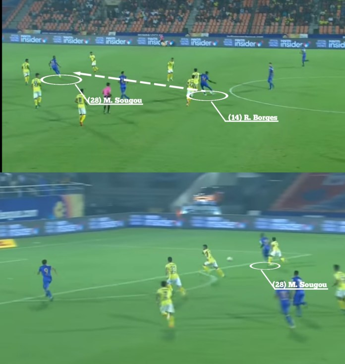 One instance of Borges' immaculate passing. Mumbai City FC Credits- Hotstar, Indian Super League