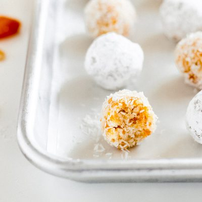coconut apricot ball with bite