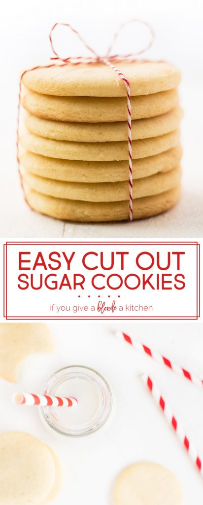 Easy cut out sugar cookie recipe can be used for any holiday - Christmas, Valentine's Day, Easter. The dough does not need to be chilled in the refrigerator and can be rolled out and cut into shapes with cookie cutters in minutes! | www.ifyougiveablondeakitchen.com