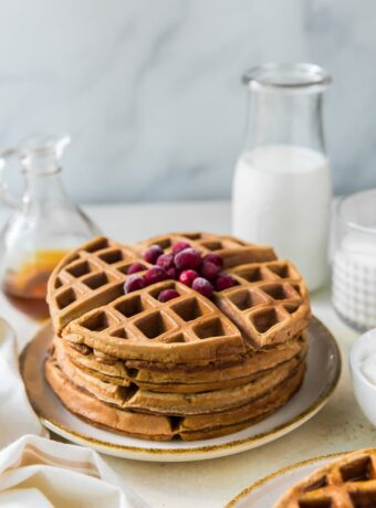 Gingerbread Waffles with Eggnog Whipped Cream