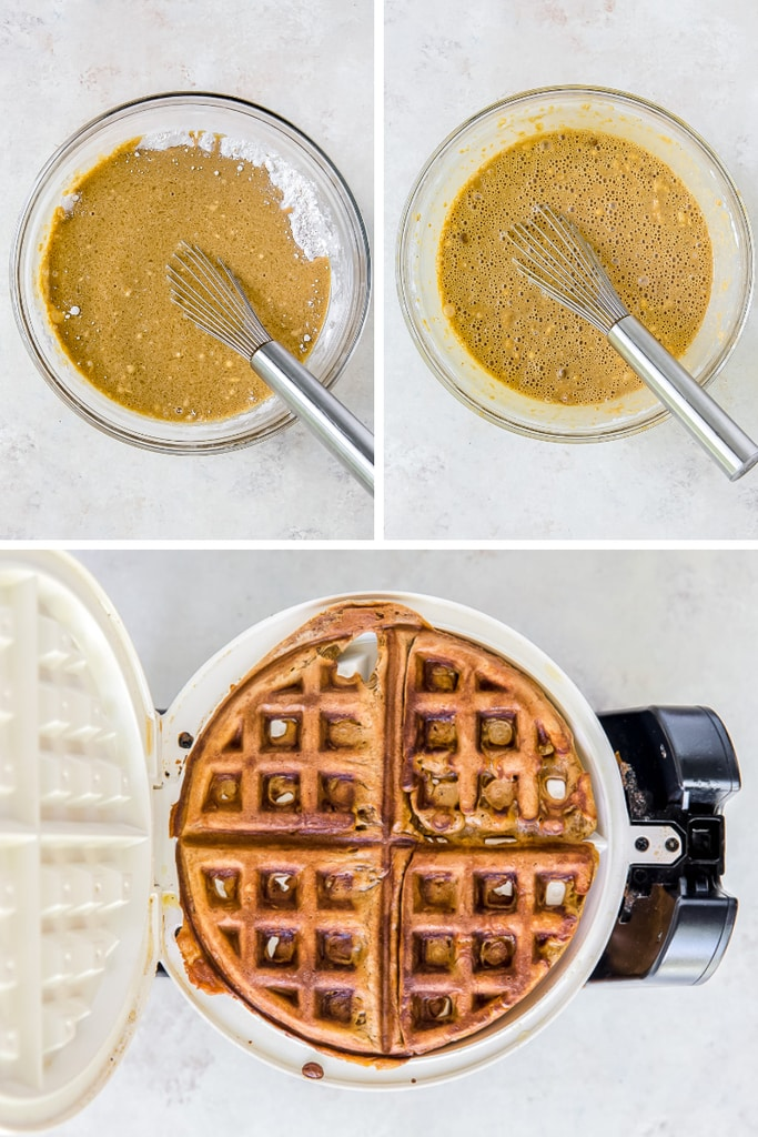 photo collage of making waffle batter in mixing bowl and in waffle iron
