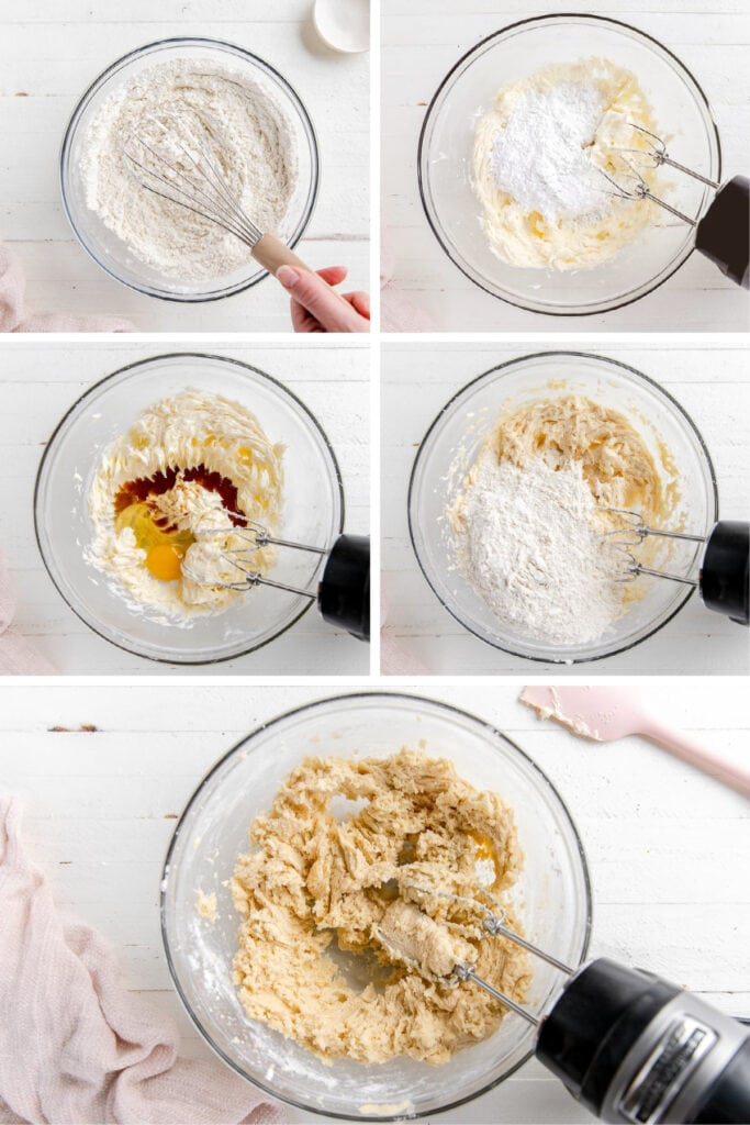 photo collage demonstrating how to make cut out sugar cookie dough in a mixing bowl with hand mixer