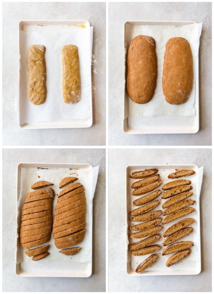 photo collage demonstrating how to shape and cut gingerbread biscotti