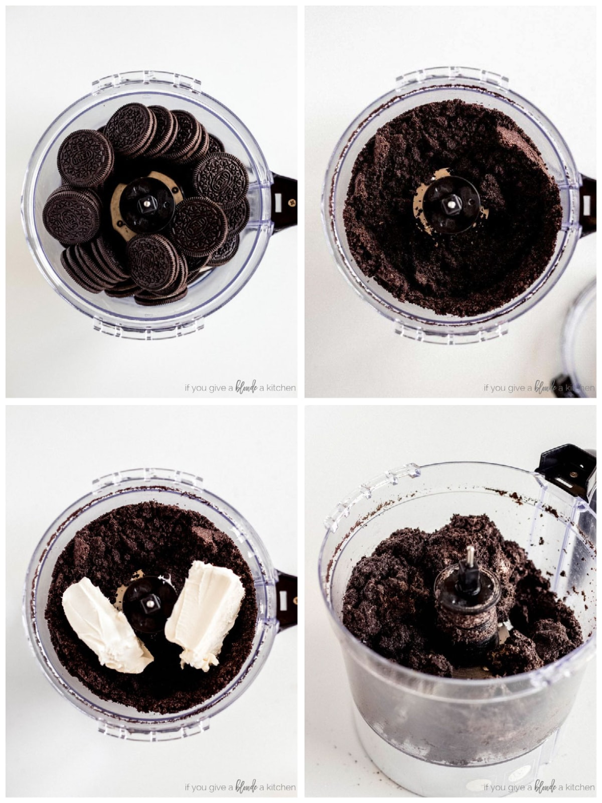 photo collage demonstrating how to make oreo truffles in a food processor