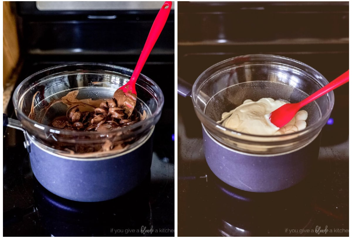 two photo collage demonstrating how to use a makeshift double boiler to melt chocolate