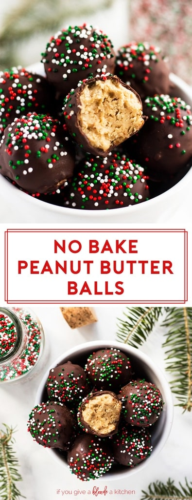 No bake peanut butter balls are a five ingredient recipe calling for peanut butter, butter, confectioners' sugar, rice krispies and chocolate. The truffles are perfect for Christmas time. The recipe yields dozens of peanut butter balls, which is perfect for gift giving! | www.ifyougiveablondeakitchen.com