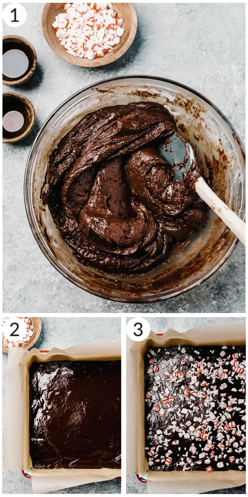 photo collage demonstrating how to make peppermint fudge in mixing bowl and 8x8 pan