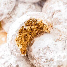 pfeffernusse cookie with bite