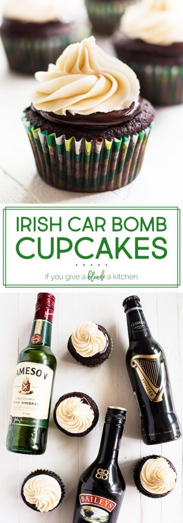 Irish Car Bomb Cupcakes are made of Guinness stout chocolate cake, Jameson Whiskey chocolate ganache and Bailey's buttercream frosting—the perfect St. Patrick's Day dessert!