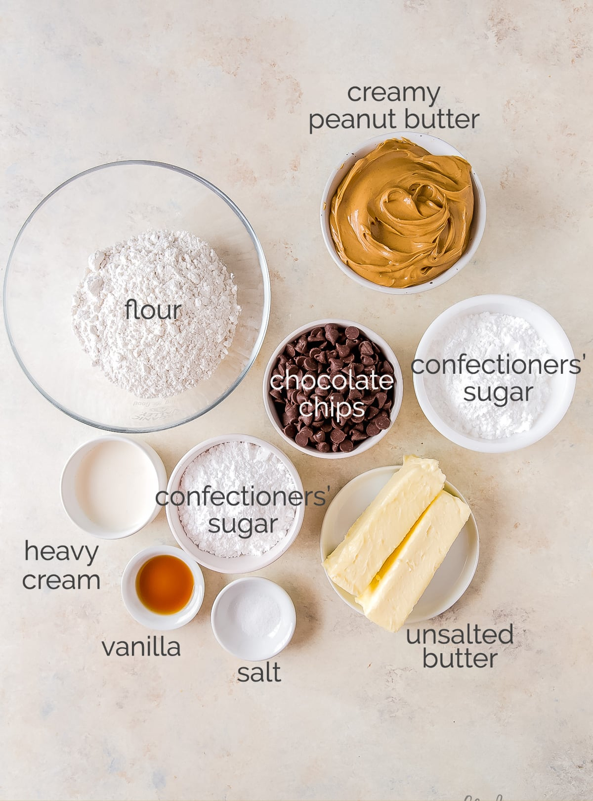 peanut butter chocolate bars ingredients in bowls labeled with text