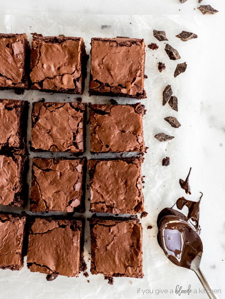 fudgy brownies cut into square and spoon with melted chocolate