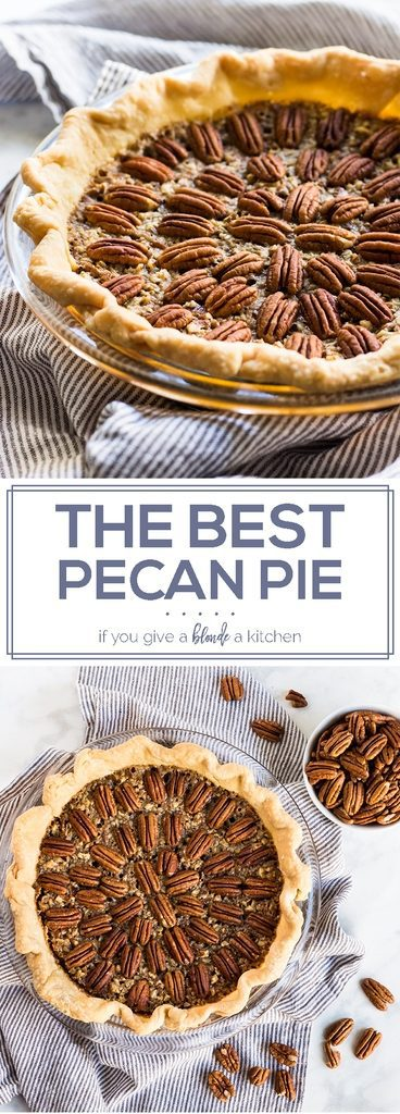 This is the best pecan pie recipe for Thanksgiving and Christmas. Every bite is gooey and crunchy with a buttery, flaky crust. | www.ifyougiveablondeakitchen.com
