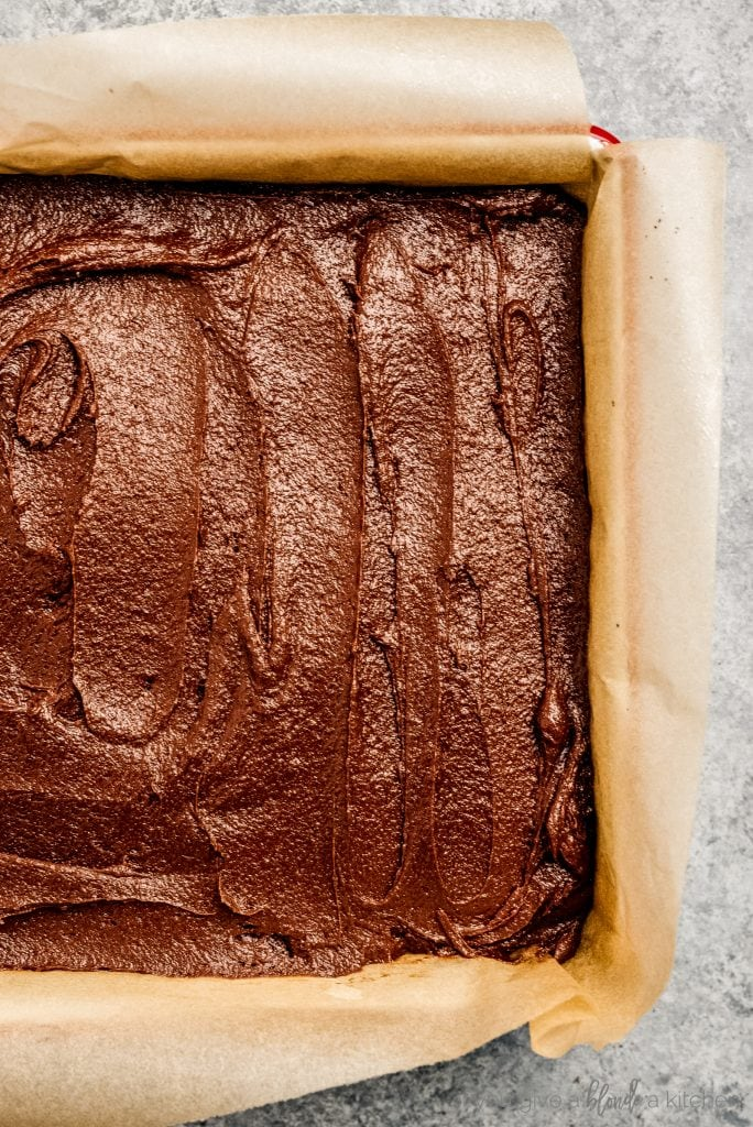 baking pan with brownie batter