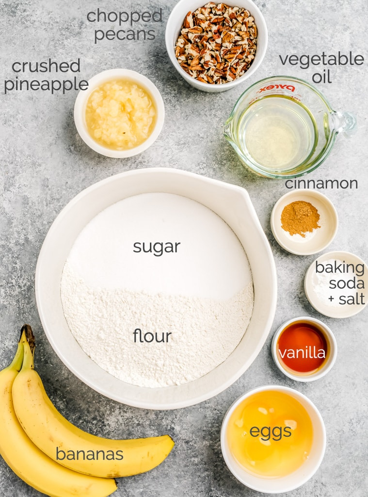 hummingbird cake ingredients in bowls, labeled