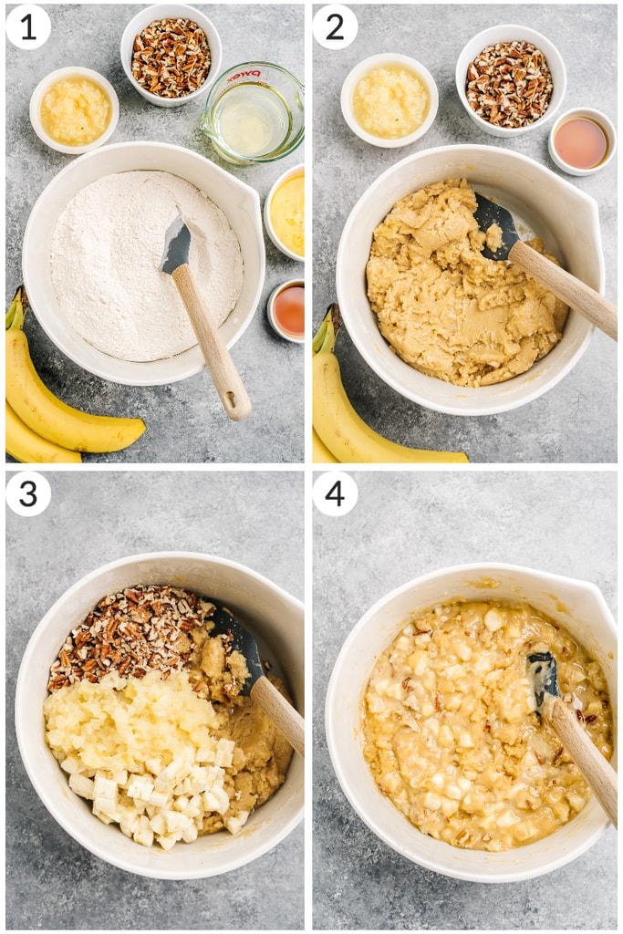 collage with step by step photos demonstrating how to make hummingbird cake in mixing bowl