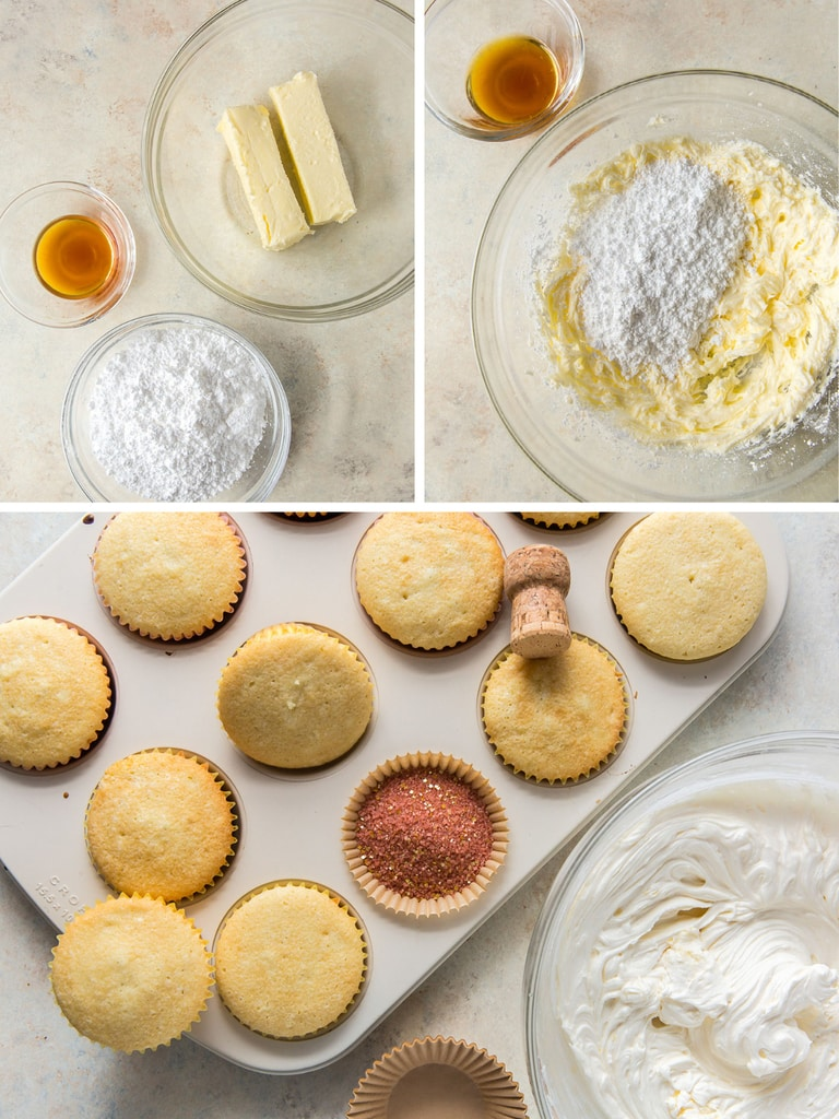 photo collage demonstrating how to make champagne frosting