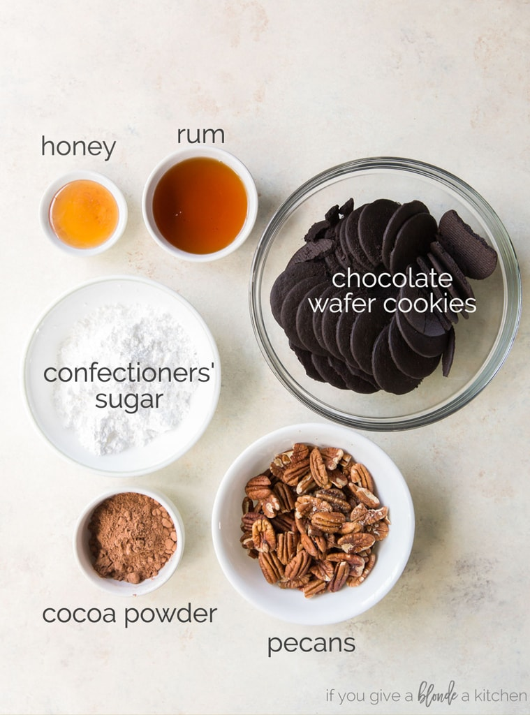 rum ball ingredients labeled with text