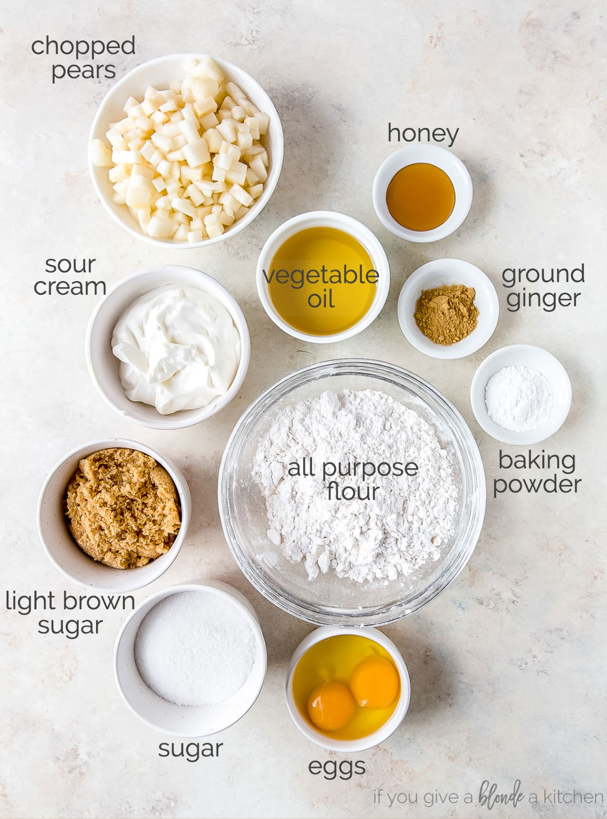 ginger pear muffin ingredients labeled with text