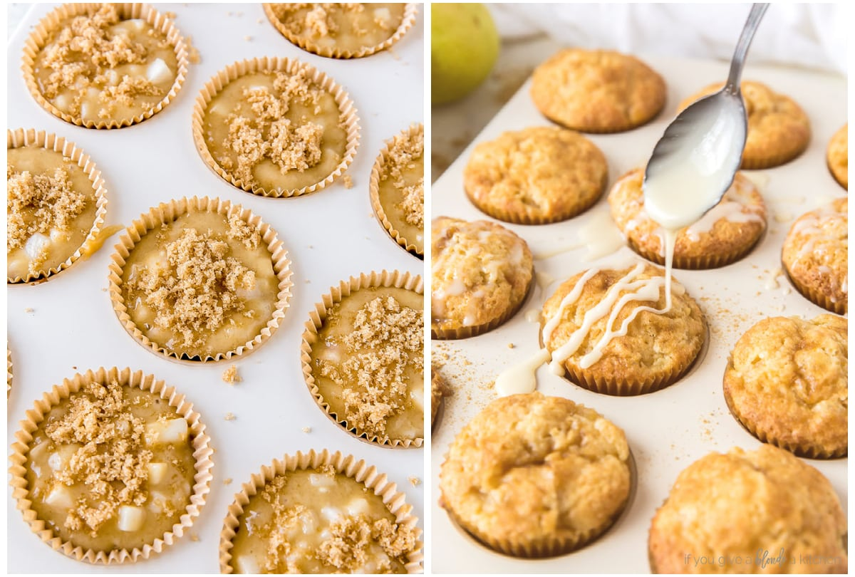 two photo collage demonstrating how to top muffins with brown sugar and honey glaze