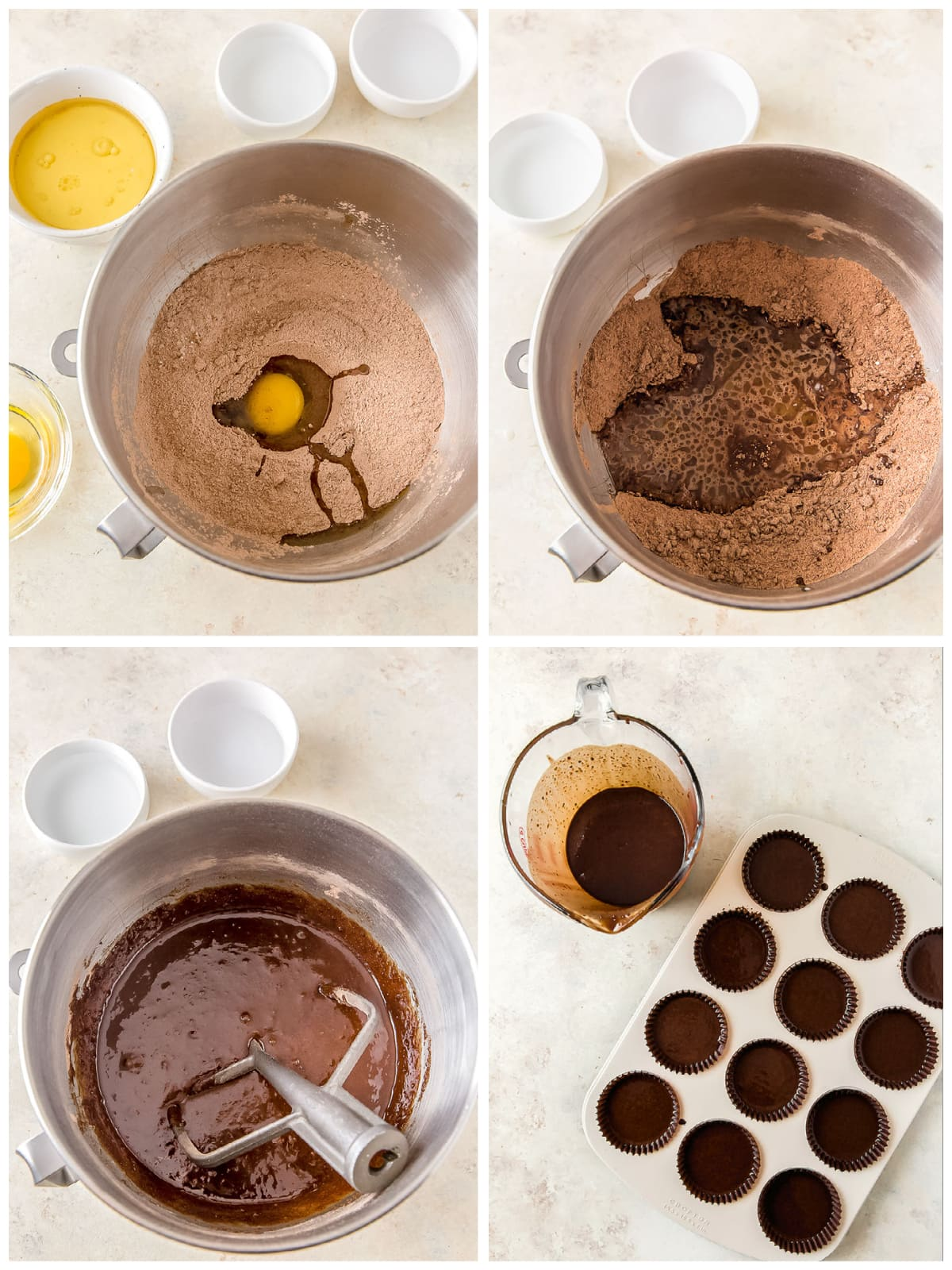 photo collage demonstrating how to make hot cocoa cupcake batter in mixing bowl