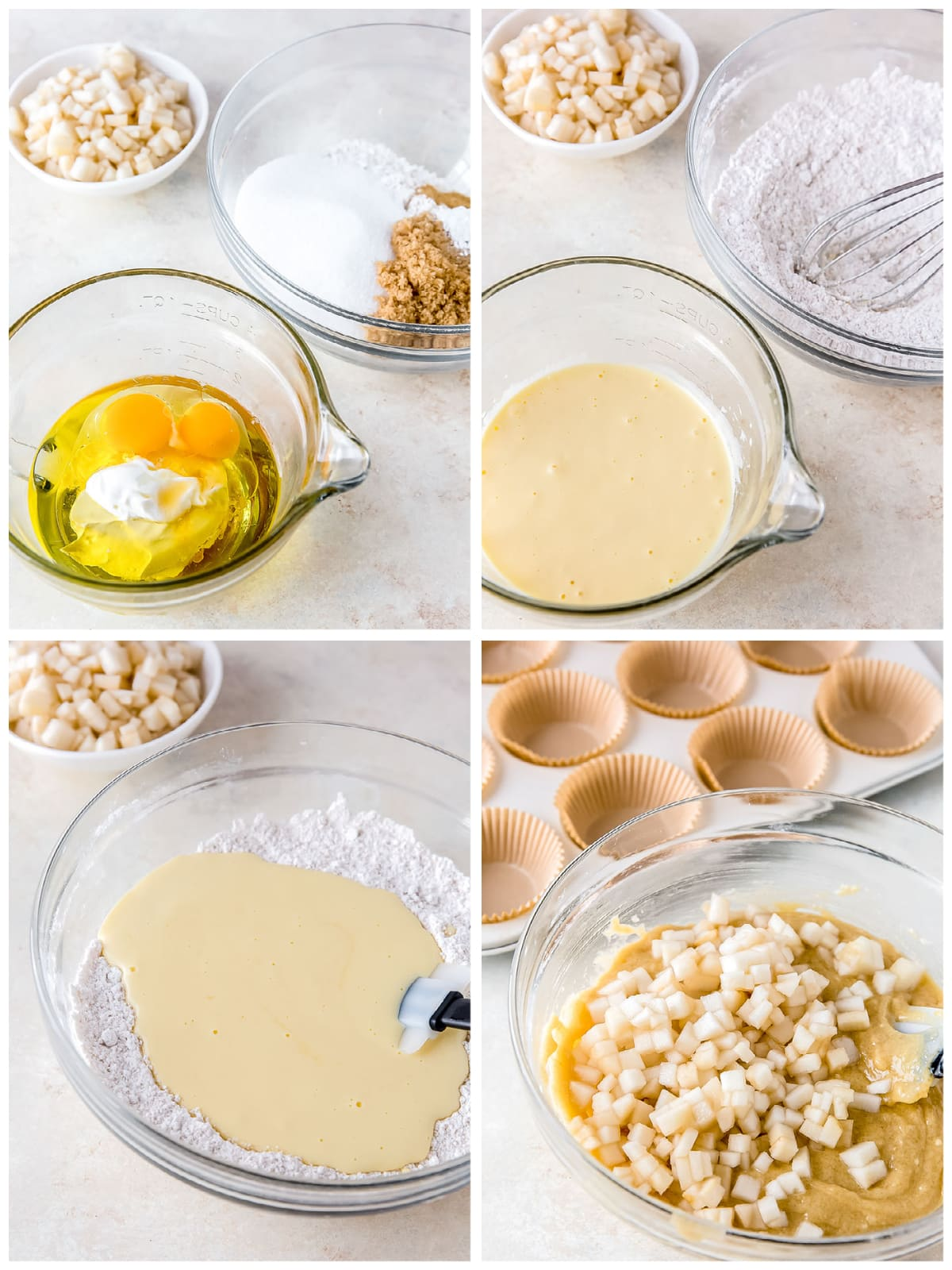 photo collage demonstrating how to make ginger pear muffins in mixing bowls