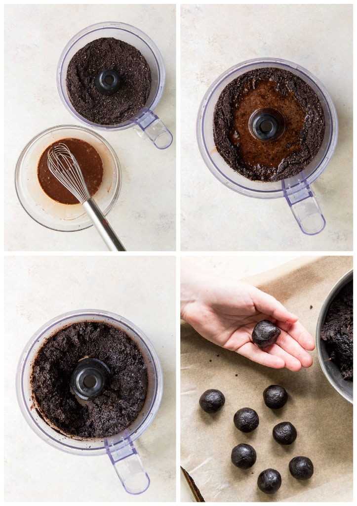 photo collage demonstrating how to make rum balls in a food processor