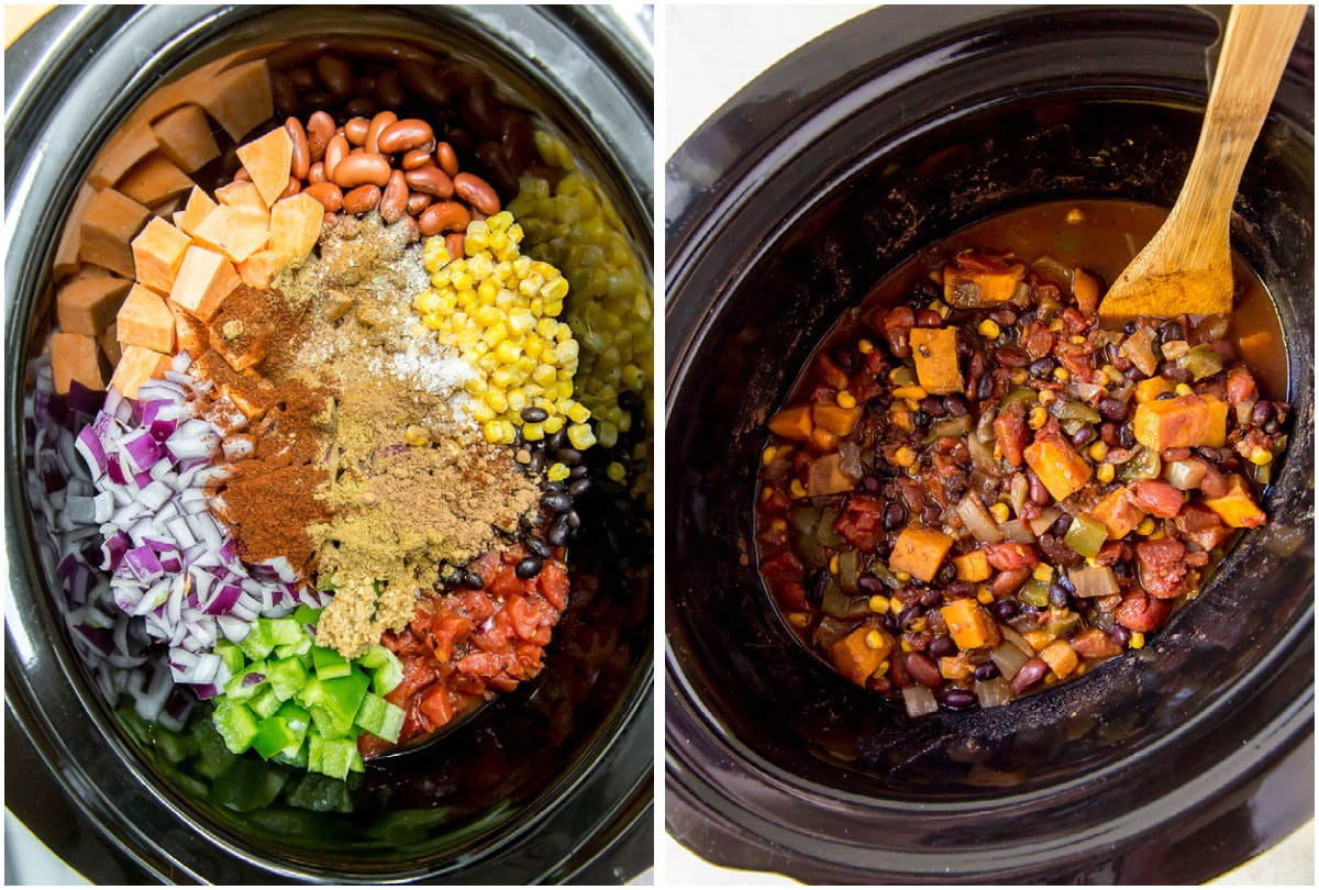 before and after photo collage of sweet potato chili in crock pot