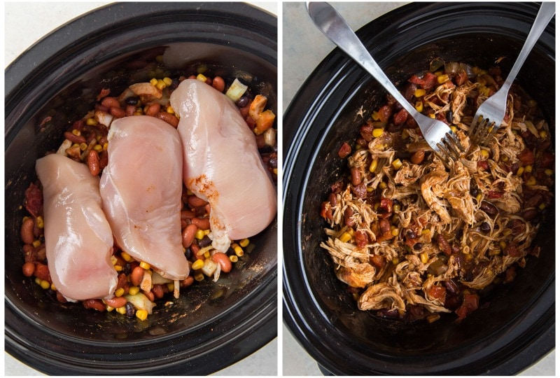 photo collage showing chicken in crockpot before cooked and after cooked