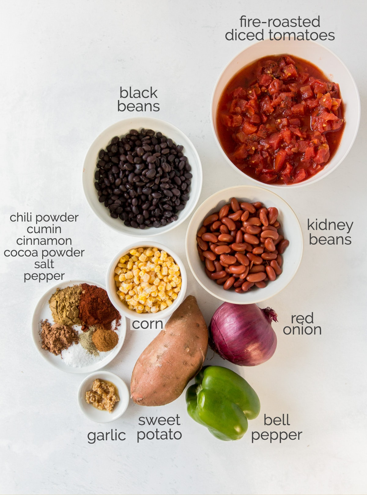 sweet potato chili ingredients in bowls labeled with text
