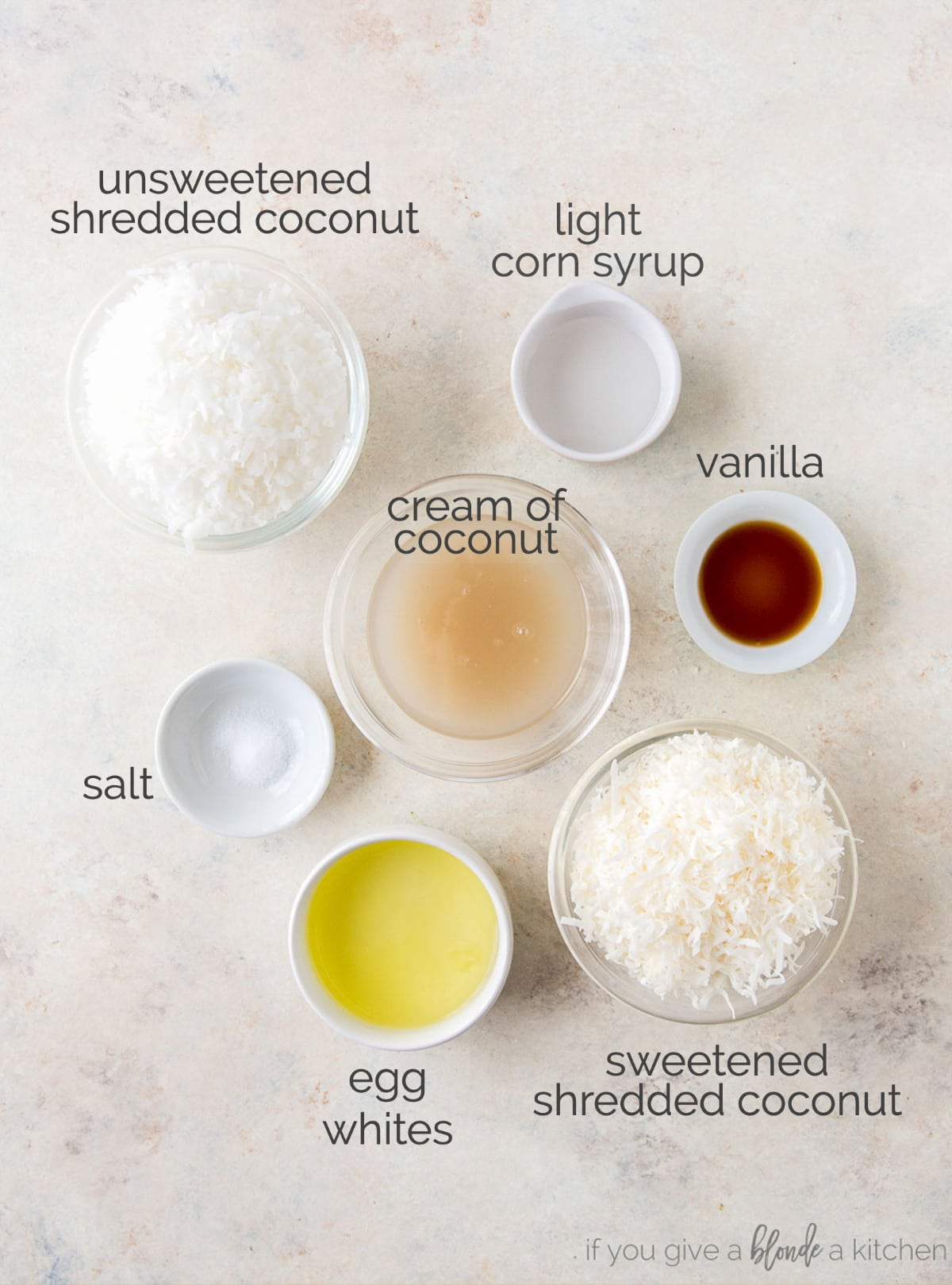coconut macaroon ingredients in bowls labeled with text
