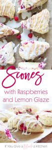 These homemade lemon raspberry scones are soft, scrumptious breakfast treats sweetened with fresh raspberries and lemon glaze. | Recipe by @haleydwilliams