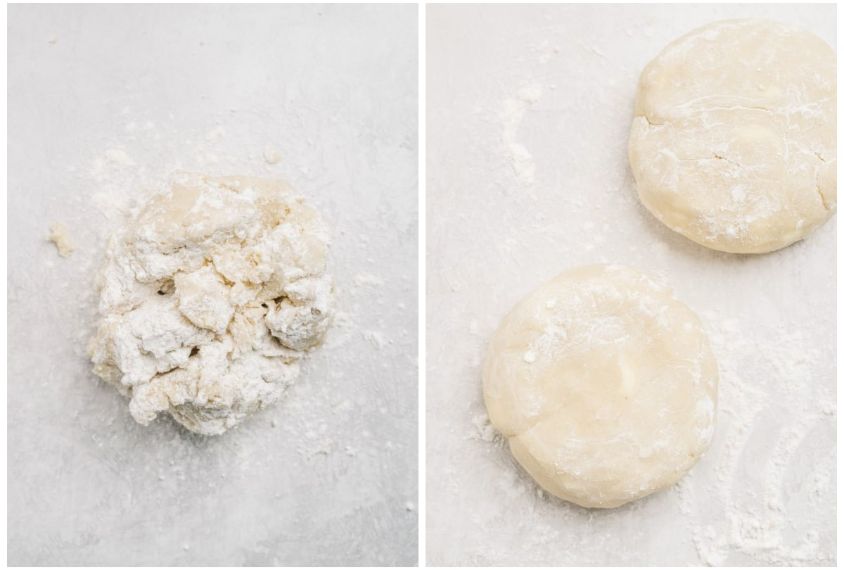 photo collage demonstrating how to shape pie dough into discs before chilling