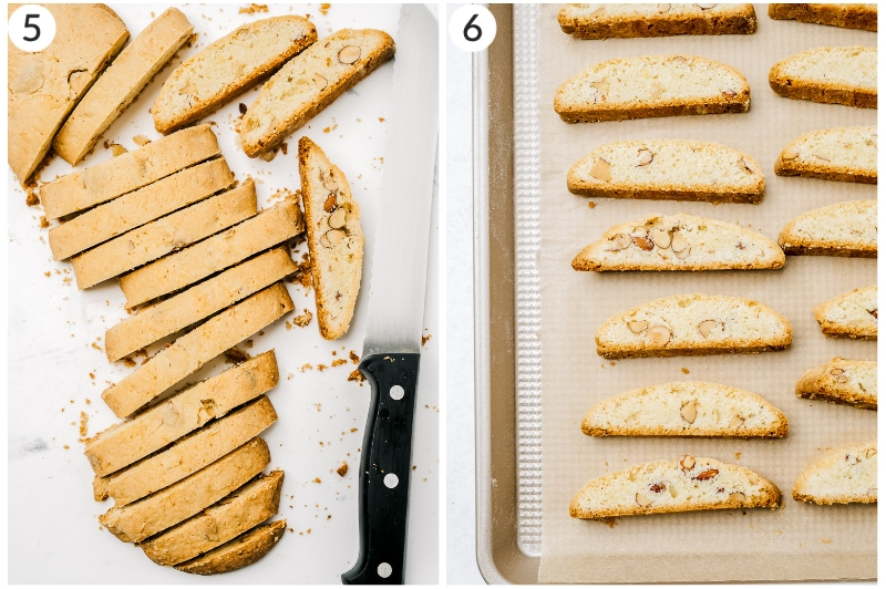 two image collage of almond biscotti cut after first bake and after second bake