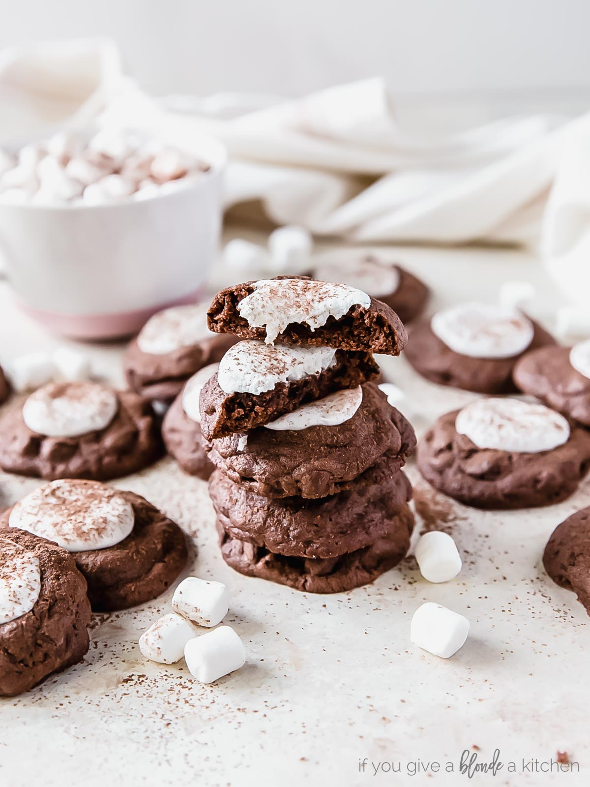 hand holding hot cocoa cookie with marshmallow and mug of hot chocolate